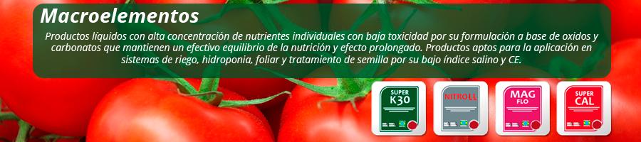 Productos líquidos de alta concentración de nutrientes individuales con baja toxicidad por su formulación a base de óxidos y carbonatos, que mantienen un equilibrio de la nutrición y un efecto prolongado.